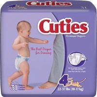 CUTIES BABY DIAPER SIZE 4  22-37LB  19/PAC