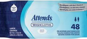 ATTENDS WASHCLOTH 8.7 X 12.5 SCENTED 72/PACK
