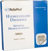 RELIAMED THIN HYDROCOLLOID DRESSING 4X4 10/BX